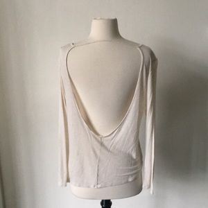 Nude Backless Cotton Tee Shirt